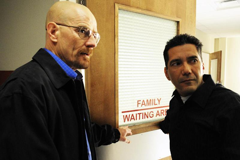 "This 2009 image released by AMC shows actors Bryan Cranston as Walter White, left, and Steven Michael Quezada as Steven Gomez in a scene from the third season of ""Breaking Bad."" Quezada, who plays federal drug agent Steven Gomez on the Albuquerque-based show, is running unopposed Tuesday, Feb. 5, 2013, for a seat on Albuquerque's school board. (AP Photo/AMC)"