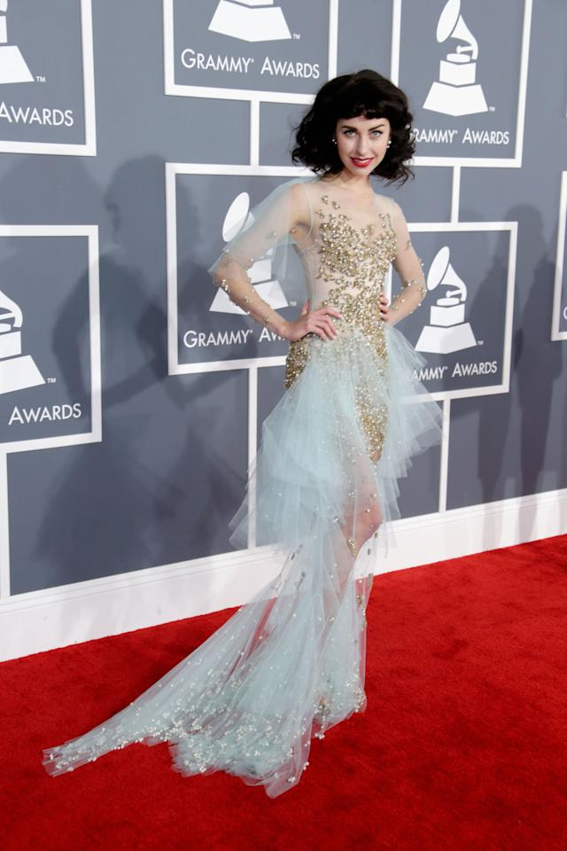 We're not sure where Kimbra got her inspiration on what to wear to the Grammys but we're thinking from Tinkerbell, maybe? She's donning an Australian design by Jaime Lee Major.