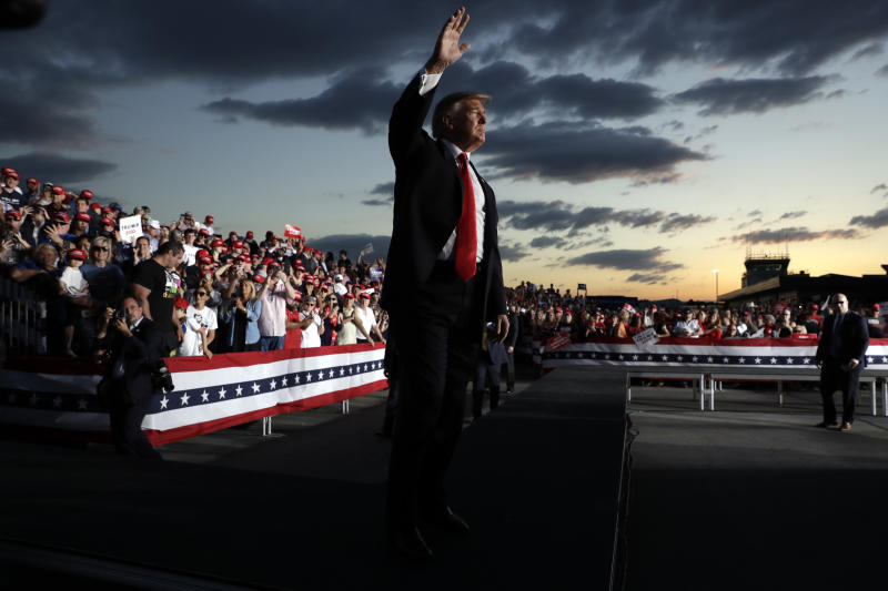 President Donald Trump waves to the crowd as he finishes speaking at a campaign rally, Monday, May 20, 2019, in Montoursville, Pa. (AP Photo/Evan Vucci)