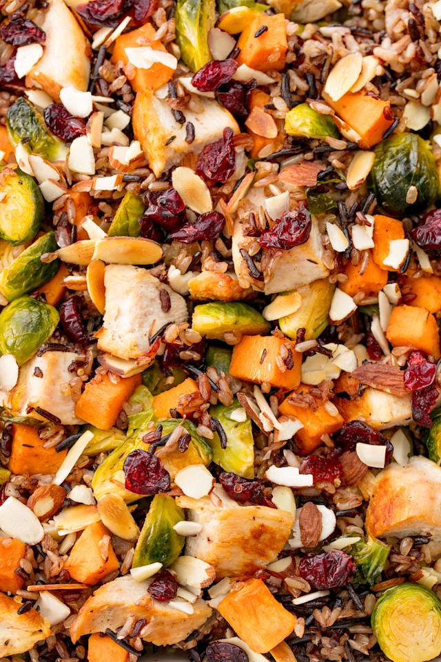 """<p>A satisfying casserole with all of your fall favorites.</p><p>Get the recipe from <a rel=""""nofollow"""" href=""""http://www.delish.com/cooking/recipe-ideas/recipes/a55760/healthy-chicken-casserole-recipe/"""">Delish</a>.</p>"""