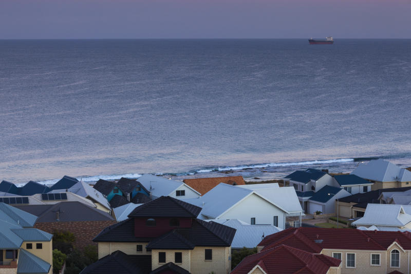 Australia, Western Australia, Bunbury, elevated view of beach houses from Marlston Hill, dawn. Image: Getty