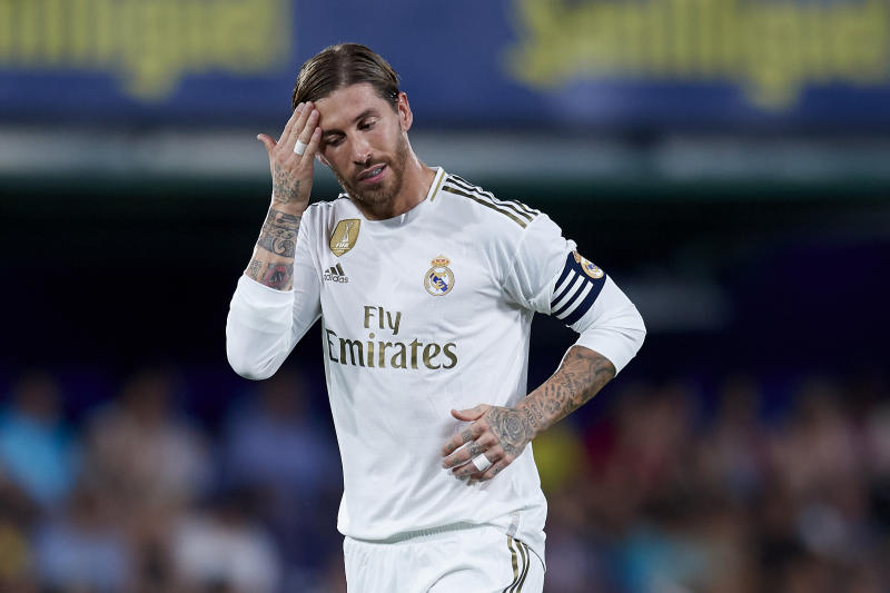 Sergio Ramos of Real Madrid reacts during the Liga match between Villarreal CF and Real Madrid CF at Estadio de la Ceramica on September 1, 2019 in Villareal, Spain. (Photo by Jose Breton/Pics Action/NurPhoto via Getty Images)