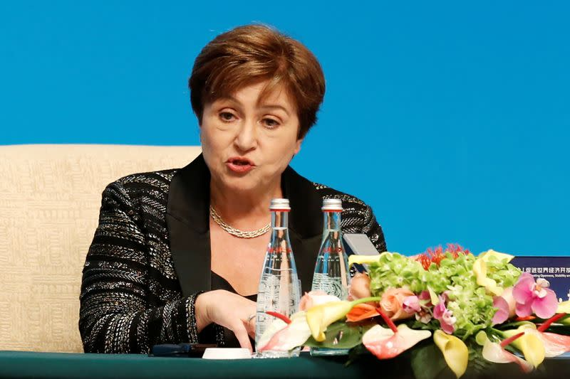 """IMF Managing Director Kristalina Georgieva speaks at a news conference following the """"1+6"""" Roundtable meeting at the Diaoyutai state guesthouse in Beijing"""
