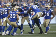 Winnipeg Blue Bombers' Willie Jefferson (5) is congratulated for his interception against the Hamilton Tiger-Cats during the first half of a Canadian Football League game Thursday, Aug. 5, 2021, in Winnipeg, Manitoba. (John Woods/The Canadian Press via AP)