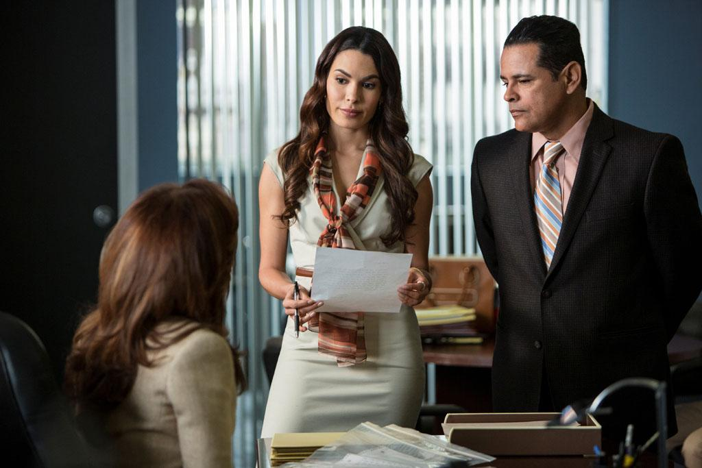 "Nadine Velazquez and Raymond Cruz in the ""Major Crimes"" episode, ""False Pretenses."""