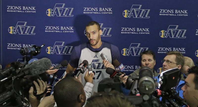 Utah Jazz center Rudy Gobert speaks with reporters following NBA basketball practice Thursday, April 27, 2017, in Salt Lake City. The Jazz are 2-0 since Gobert's return and Utah has outscored the Los Angeles Clippers in the paint in both games by a combined 92-64. The Jazz lead the best-of-seven games series 3-2. (AP Photo/Rick Bowmer)