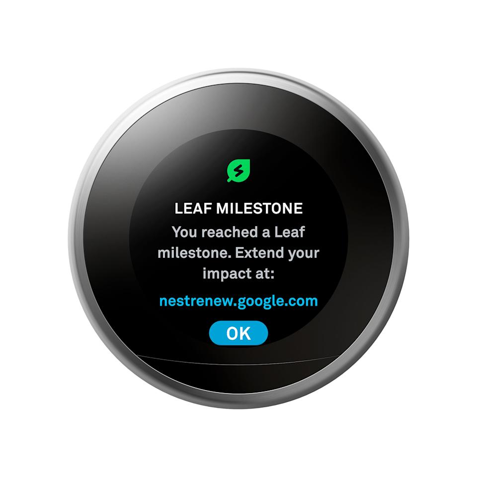 A Nest Thermostat showing the message