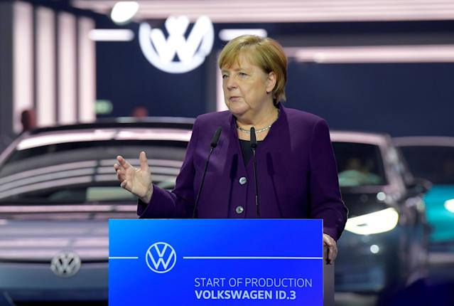 Angela Merkel speaks during a ceremony marking start of the production of a new electric Volkswagen model ID.3 in Zwickau, Germany, November 4, 2019. Credit: Reuters/Matthias Rietschel