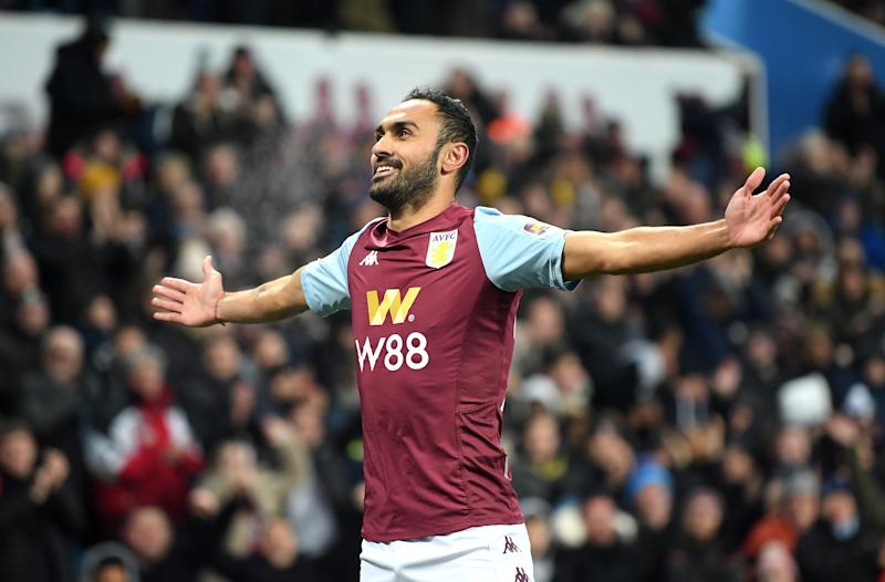 BIRMINGHAM, ENGLAND - DECEMBER 17: Ahmed El Mohamady of Aston Villa celebrates after his team's second goal during the Carabao Cup Quarter Final match between Aston Villa and Liverpool FC at Villa Park on December 17, 2019 in Birmingham, England. (Photo by Michael Regan/Getty Images)