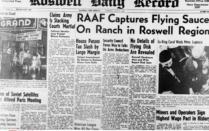 A local newspaper's front page after the Roswell crash - Sipa/Shutterstock
