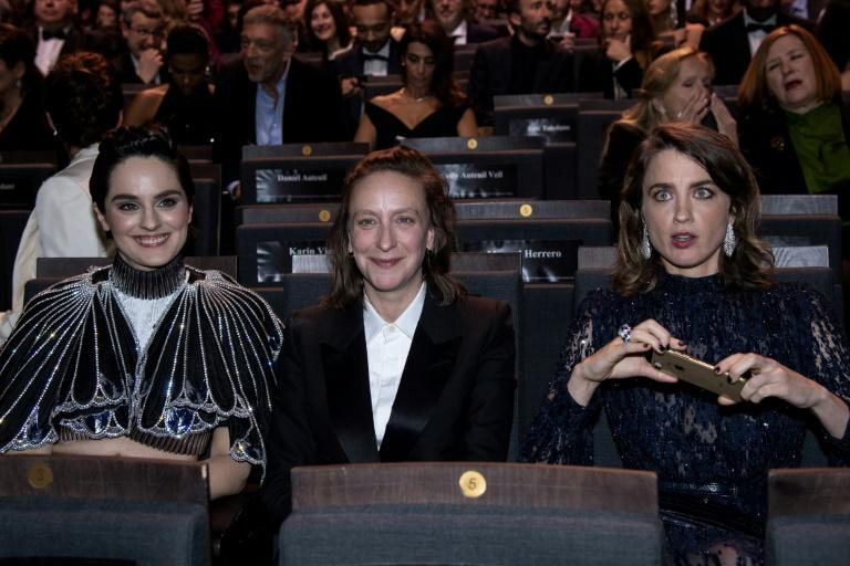 Adele Haenel (R), who has become a hero of the #MeToo movement in France, stormed out when Roman Polanski won best director at the French Oscars