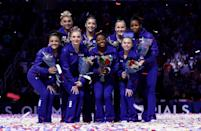 <p>Perhaps Raisman and Douglas can lead the team to gold once more, and share post-Olympic advice to these rookies. (Getty) </p>