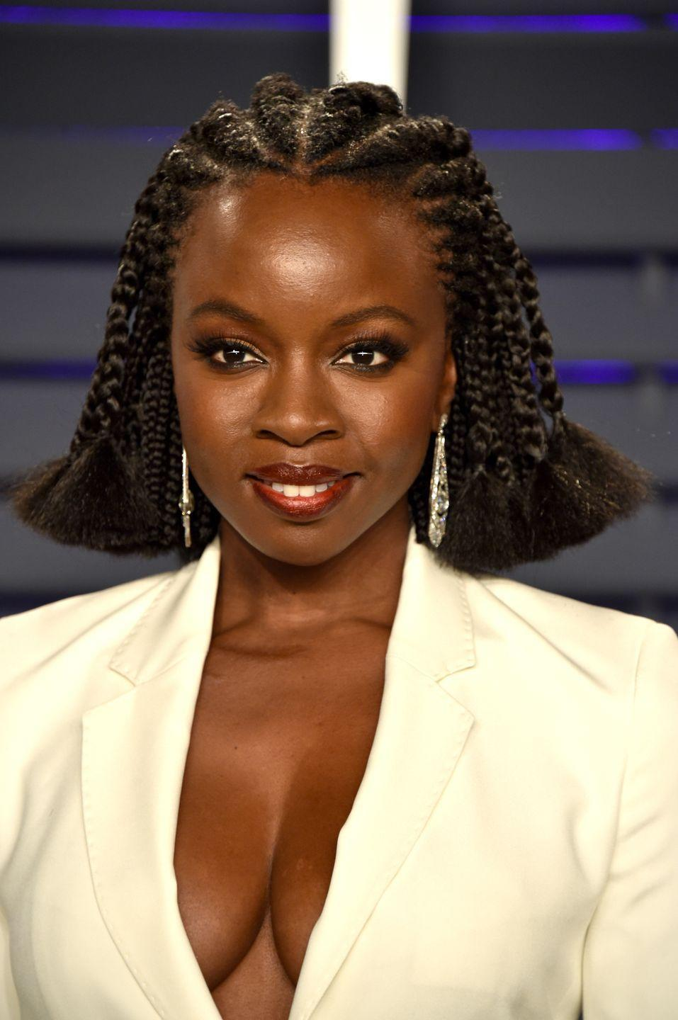 <p><strong>Danai Gurira</strong>'s feed-in braided style gets an edgy look with purposely frayed ends. If you have fine hair, adding extensions to your braids can not only add fullness but also prevent breakage because you are leaving your hair alone and not promoting breakage. </p>