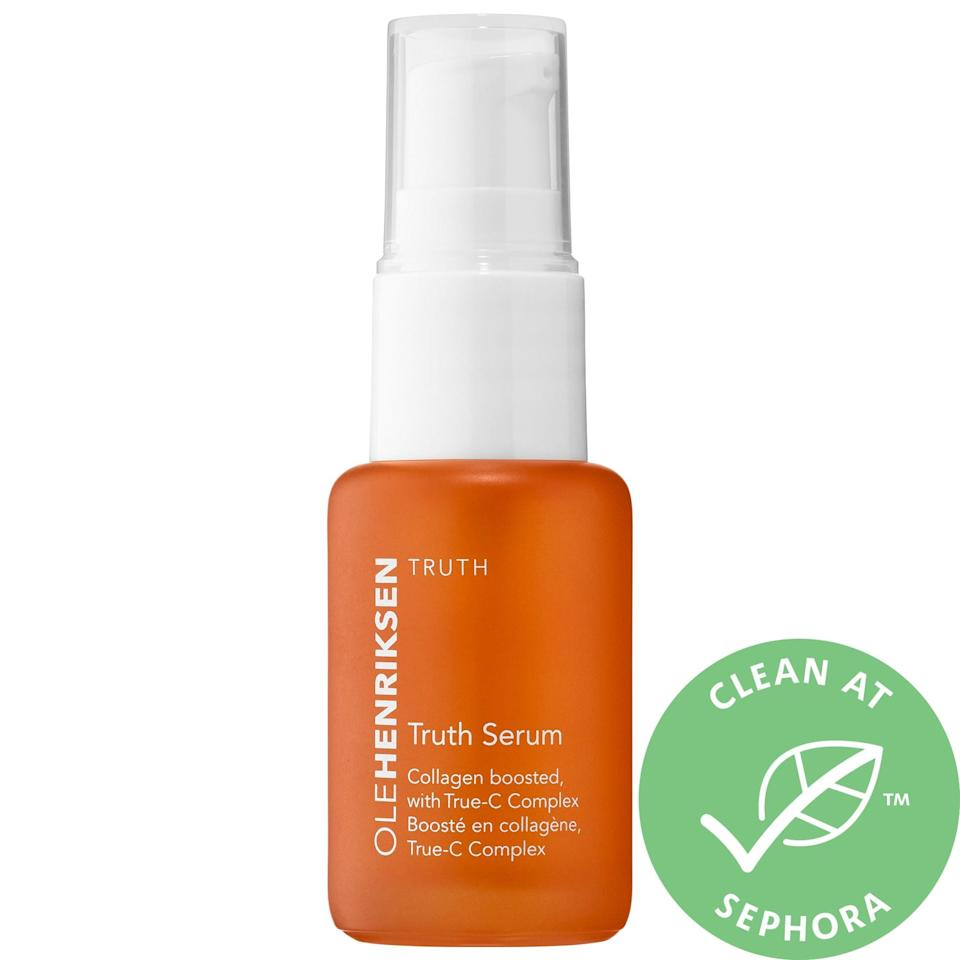 "<p>Not only is this the best-smelling hyperpigmentation-tackling product I use, a small amount of this gel-like <a href=""https://www.popsugar.com/buy/Olehenriksen-Truth-Serum-Mini-579731?p_name=Olehenriksen%20Truth%20Serum%20Mini&retailer=sephora.com&pid=579731&price=24&evar1=bella%3Aus&evar9=47529251&evar98=https%3A%2F%2Fwww.popsugar.com%2Fbeauty%2Fphoto-gallery%2F47529251%2Fimage%2F47529259%2FOlehenriksen-Truth-Serum-Mini&list1=sephora%2Cacne%2Cdark%20spots%2Cskin%20care&prop13=api&pdata=1"" class=""link rapid-noclick-resp"" rel=""nofollow noopener"" target=""_blank"" data-ylk=""slk:Olehenriksen Truth Serum Mini"">Olehenriksen Truth Serum Mini</a> ($24) goes a long way. It's best for brightening up all-over unevenness (versus a spot treatment) and, not only does the aloe inside leave skin soft, I especially love the way makeup slides on after I've let this dry on my face.</p>"