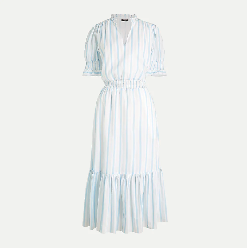 Smocked ruffle dress in cotton voile. Image via J.Crew.