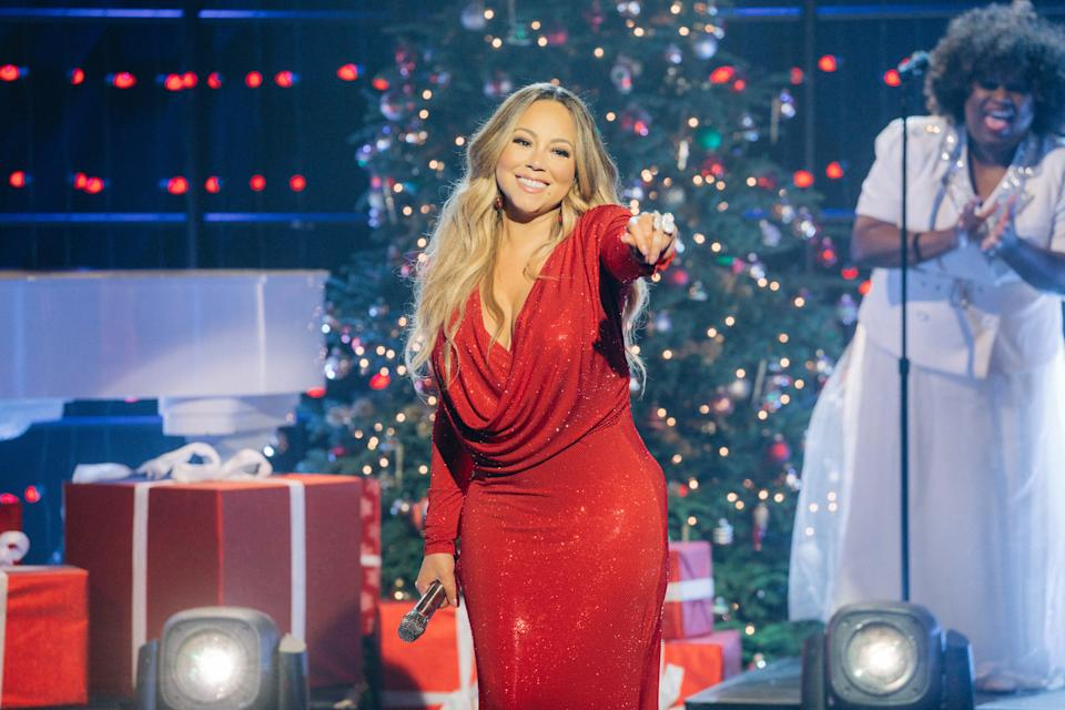 """Mariah Carey performs """"Oh Santa"""" from her 25th Anniversary album reissue of Merry Christmas during The Late Late Show with James Corden, airing Tuesday, December 17, 2019. (Photo by Terence Patrick/CBS via Getty Images)"""