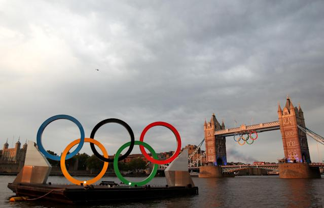 LONDON, ENGLAND - JULY 27: A general view of Tower Bridge ahead of the Opening Ceremony of the London 2012 Olympic Games on July 27, 2012 in London, England. (Photo by Streeter Lecka/Getty Images)