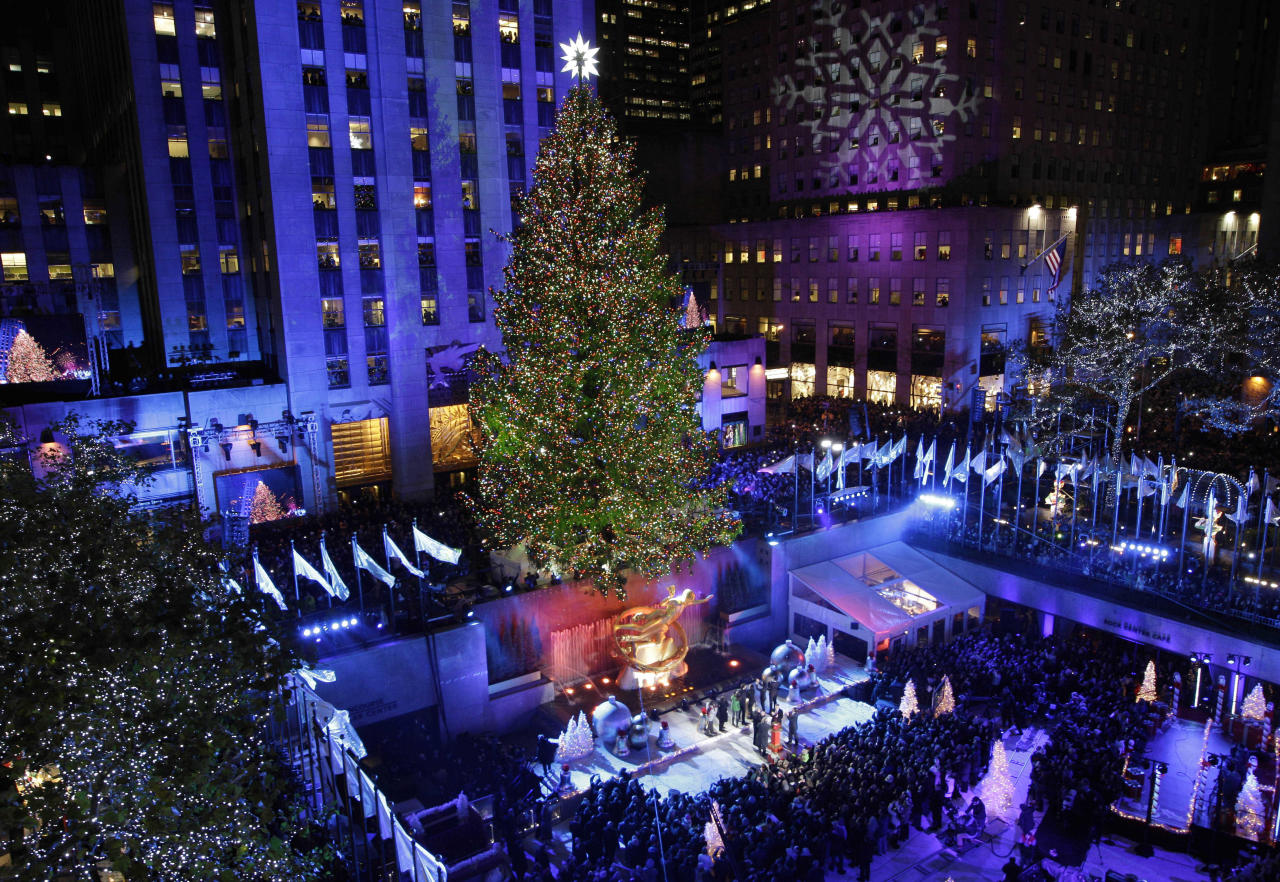 The Rockefeller Center Christmas Tree is lit during the 80th annual tree lighting ceremony at Rockefeller Center in New York, Wednesday, Nov. 28, 2012.  (AP Photo/Kathy Willens)