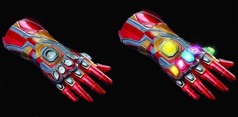 The Marvel Legends Iron Man Nano Gauntlet, with and without Infinity Stones.