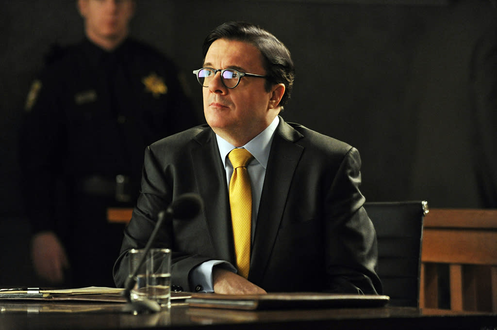 """The Seven Day Rule"" -- When Clarke (Nathan Lane) decides that the Will and Diane are hurting his efforts to erase the firm's debts, he and Louis Canning, the firm's new creditor, take them to court to argue against an extension of their deadline to pay off the debts, on ""The Good Wife."""