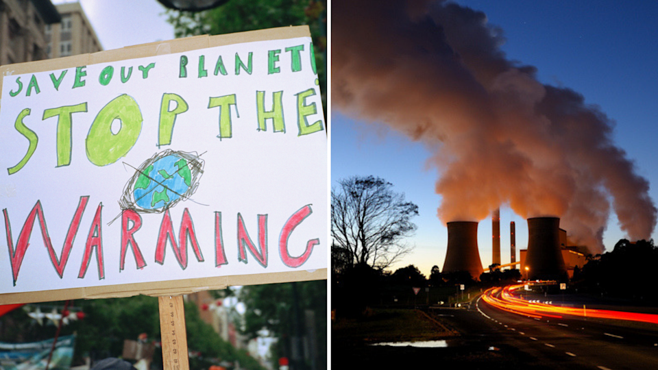 (Left) A global warming sign in the city, and (right) smokestacks of Loy Yang Power Station, Traralgon, Victoria. <em>Photo: Getty</em>