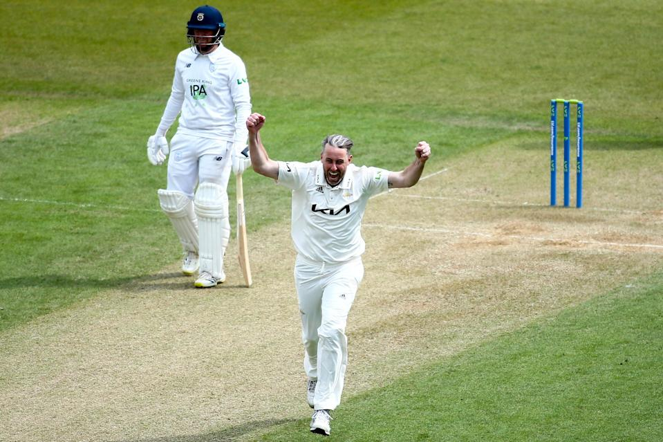 Rikki Clarke celebrates a wicket against Hampshire earlier this year (Getty Images for Surrey CCC)
