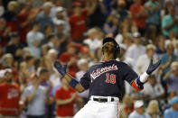 Washington Nationals' Victor Robles gestures as he crosses home plate after hitting a two-run home run in the fifth inning of an interleague baseball game against the Chicago White Sox, Tuesday, June 4, 2019, in Washington. (AP Photo/Patrick Semansky)