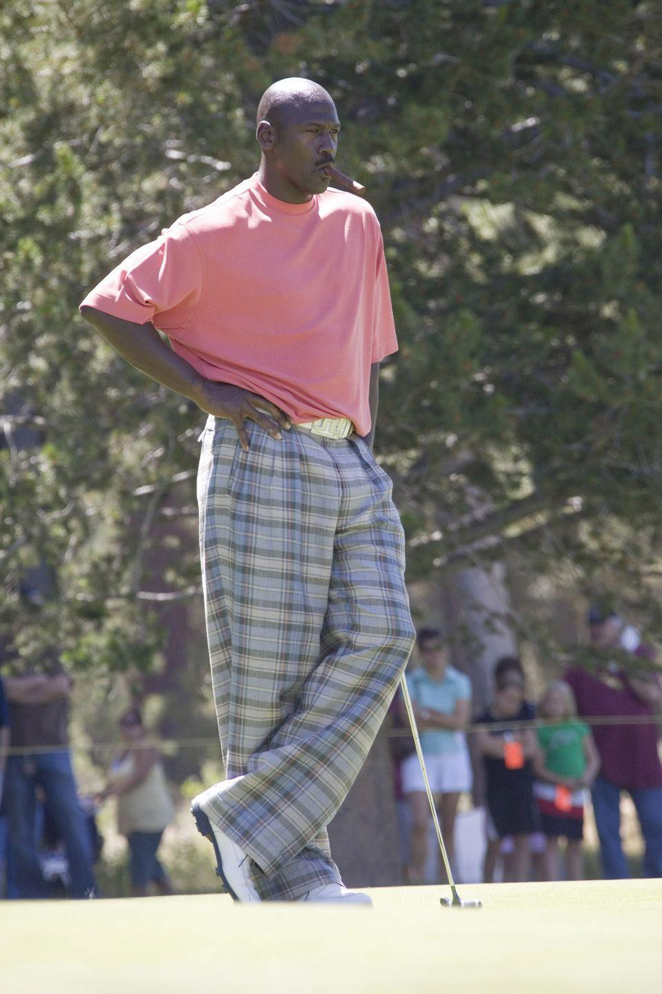 <p>Michael Jordan and his pants play at the American Century Celebrity Golf Tournament in 2007.</p>