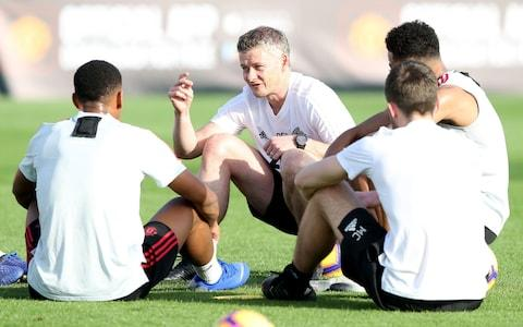 <span>Old Solskjaer has been imparting wisdom during warm weather training sessions in Dubai</span> <span>Credit: GETTY IMAGES </span>