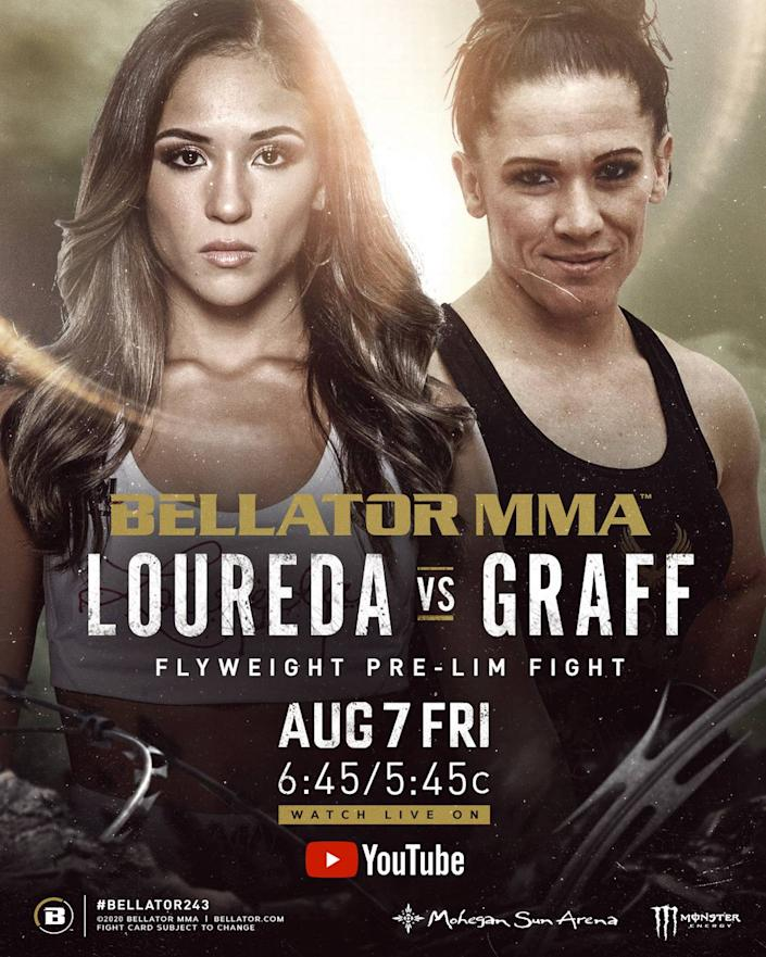 """Miami's """"Master"""" Valerie Loureda (2-0) of American Top Team is featured in the prelims of Bellator 243 MMA against Tara """"The Tiny Terror"""" Graff (1-1) on Friday, Aug. 7 from Mohegan Sun Arena in Uncasville, Connecticut. Michael Chandler of Sanford MMA headlines, and Matt Mitrione also of Samford MMA and Combat Club is co-main eventing. Sabah Homasi of American Top Team is also on the main card, and Adam Boric, another from Sanford MMA, is in the prelims, which start at 6:45 p.m. ET."""