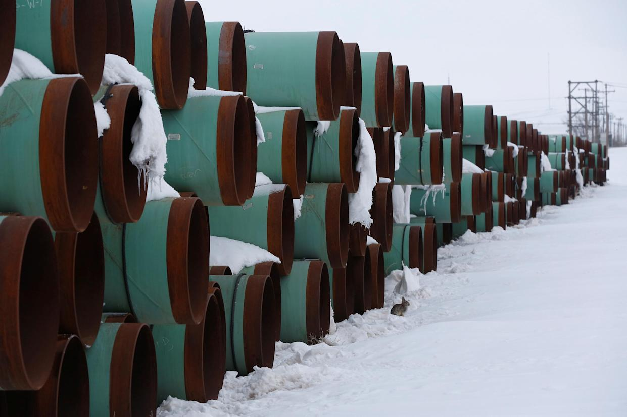 A depot used to store pipes for Transcanada Corp's planned Keystone XL oil pipeline is seen in Gascoyne, North Dakota, January 25, 2017. (Terray Sylvester/Reuters)