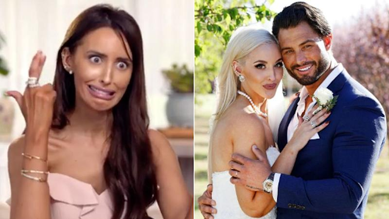 Elizabeth Sobinoff on Married At First Sight 2020 (L) and on the show in 2019 with Sam Ball (R). (Photo: Channel Nine )