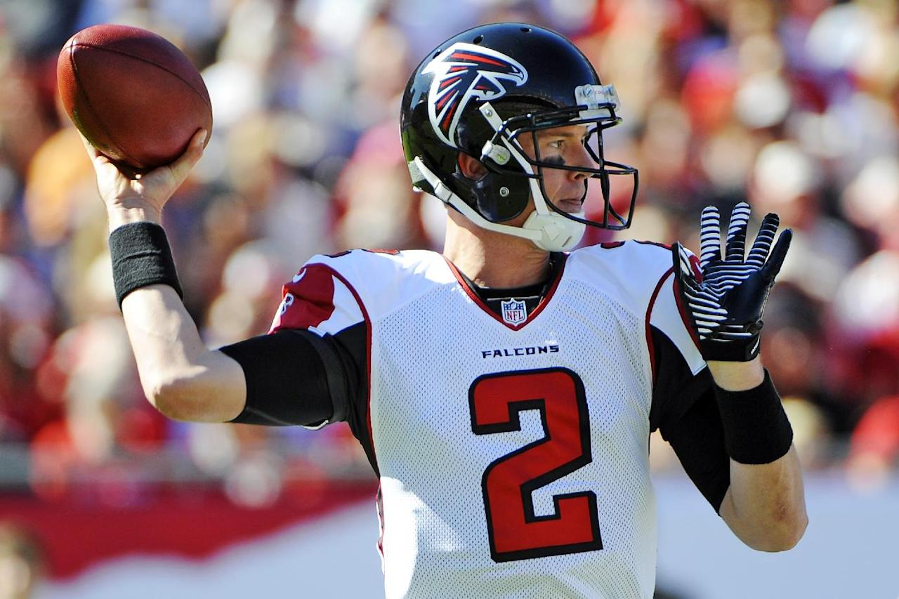 Atlanta Falcons quarterback Matt Ryan (2) throws a pass during the first quarter of an NFL football game against the Tampa Bay Buccaneers, Sunday, Nov. 25, 2012, in Tampa, Fla. (AP Photo/Brian Blanco)