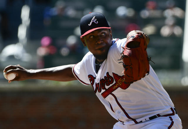 Atlanta Braves' pitcher Julio Teheran pitches against the Washington Nationals during the first inning of a baseball game Saturday, Sept. 15, 2018, in Atlanta. (AP Photo/John Amis)