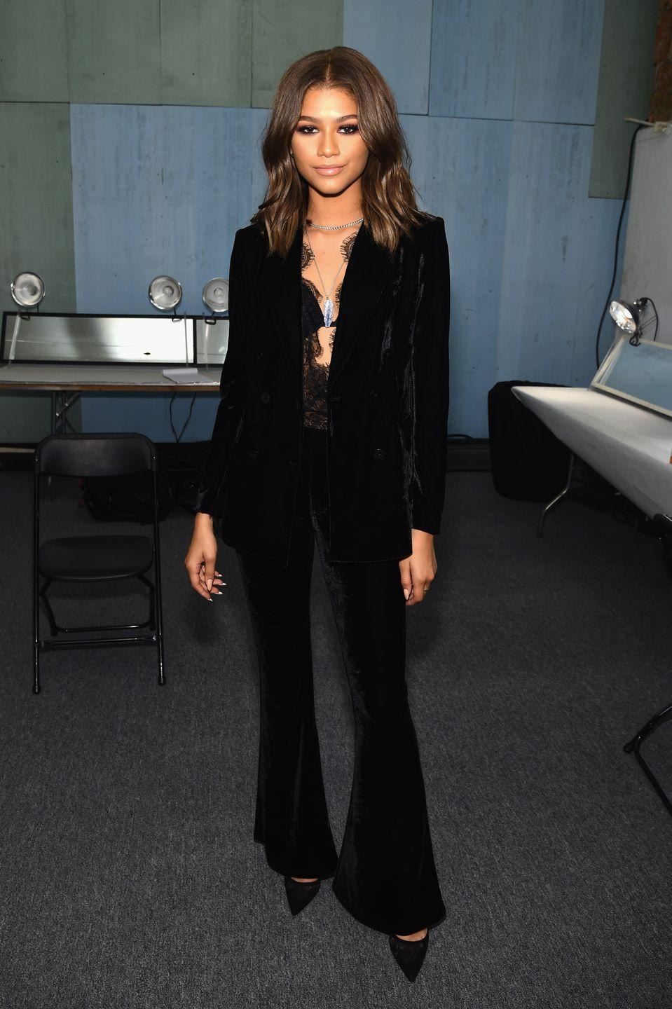 <p>If there's one thing Zendaya can't resist, it's a good suit. Here's a velvet one from her Daya by Zendaya clothing line that she wore as a guest judge on <em>Project Runway.</em></p>