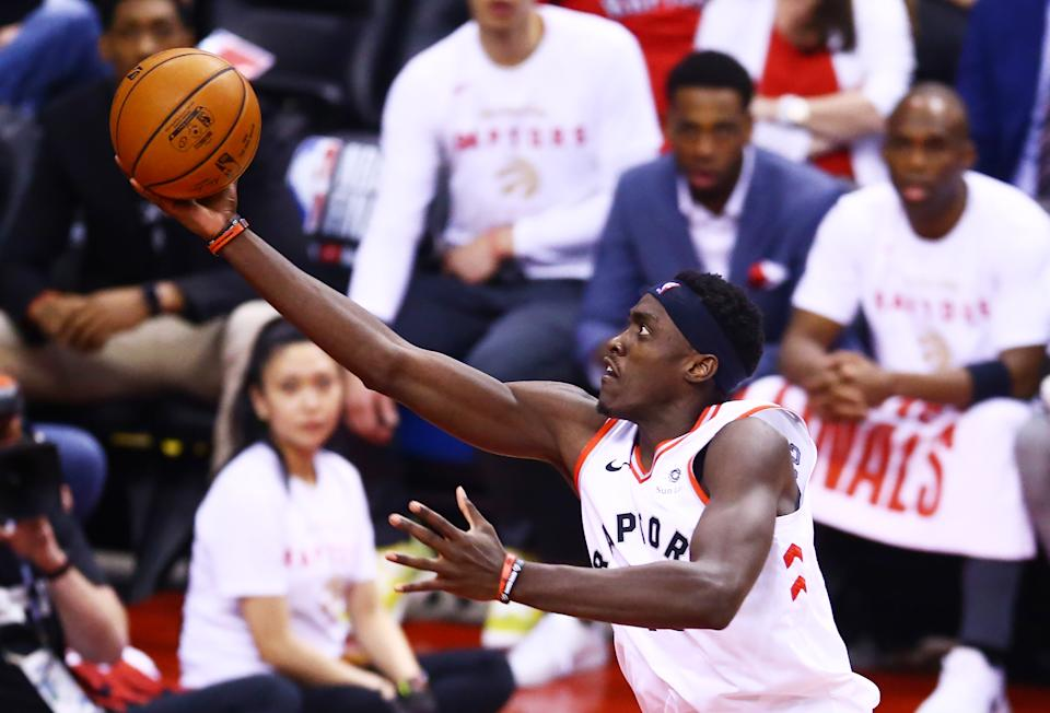 Pascal Siakam #43 of the Toronto Raptors attempts a shot against the Golden State Warriors in the first half during Game Two of the 2019 NBA Finals at Scotiabank Arena on June 02, 2019 in Toronto, Canada. (Photo by Vaughn Ridley/Getty Images)