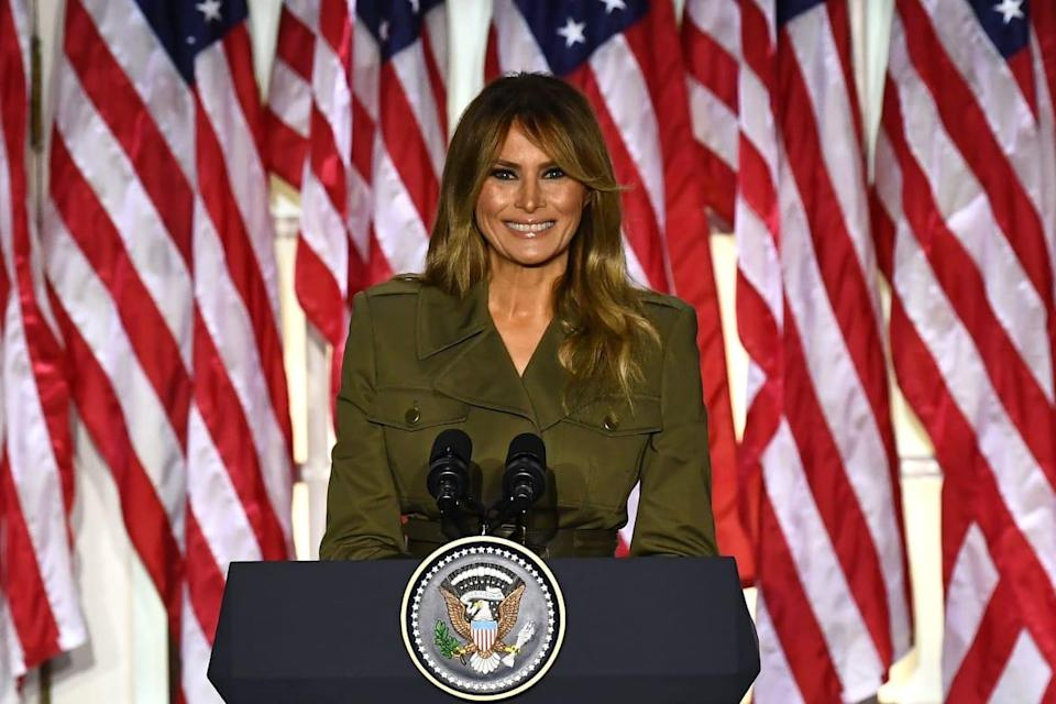 """<div class=""""inline-image__title"""">1228204416</div> <div class=""""inline-image__caption""""><p>Melania addresses the Republican Convention during its second day from the Rose Garden of the White House August 25, 2020, in Washington, DC.</p></div> <div class=""""inline-image__credit"""">BRENDAN SMIALOWSKI/AFP via Getty Images</div>"""