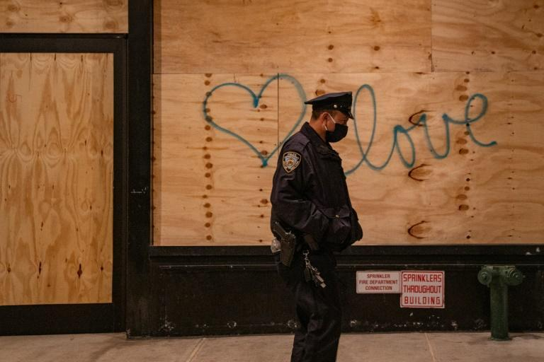 In New York, boarded-up shops due to protests have been a blank canvas for graffiti