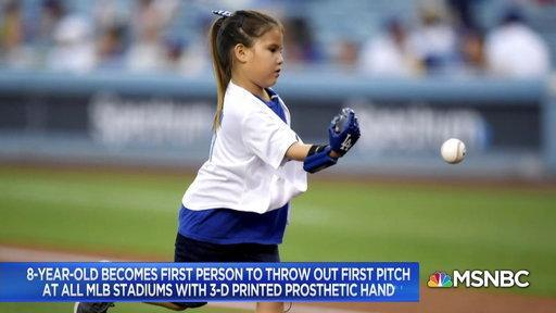 8 year old Hailey Dawson just became the first person ever to throw the first pitch at all 30 Major League Baseball stadiums, and she did it with a prosthetic hand.