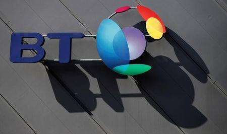 FILE PHOTO:  A BT company logo is pictured on the side of a convention centre in Liverpool northern England, April 9, 2016. REUTERS/Phil Noble/File Photo