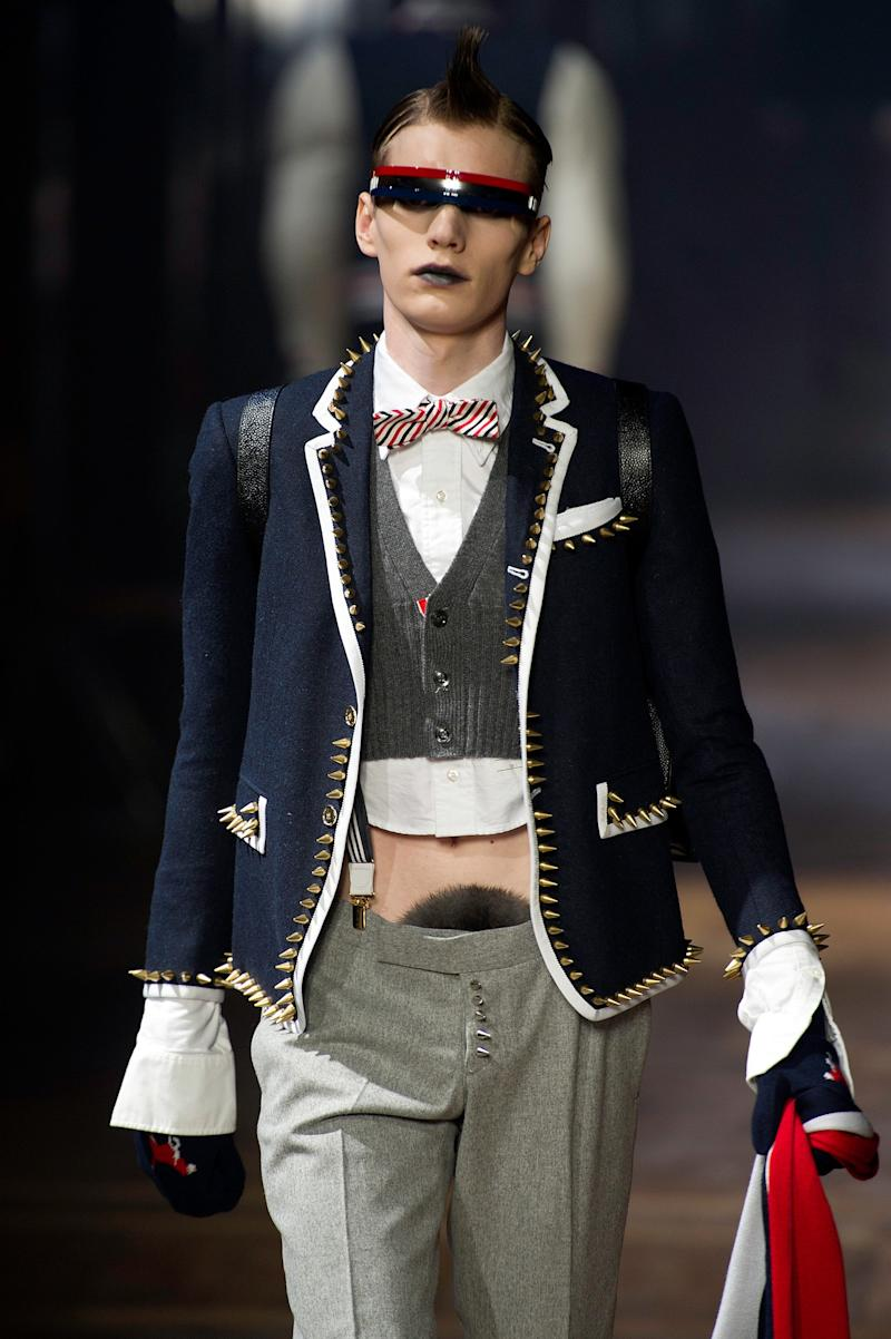 A model walks the runway during the Thom Browne Menswear Autumn/Winter 2013 show in January 2012. (Kristy Sparow via Getty Images)