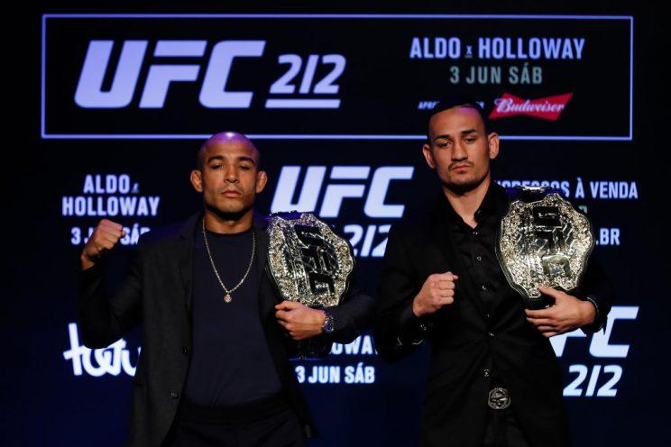 Jose Aldo (L) will meet Max Holloway on Saturday at UFC 212 in Rio de Janeiro. (Getty)
