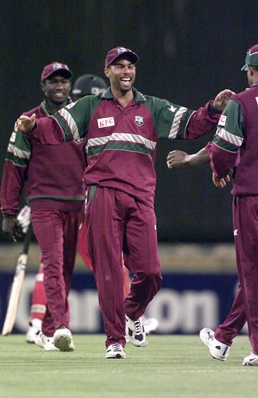 2 Feb 2001:  Jimmy Adams of the West Indies celebrates the win, during the Carlton Series One Day International between West Indies and Zimbabwe at the WACA Cricket Ground in Perth, Australia. West Indies won by 44 runs. X DIGITAL IMAGE Mandatory Credit:Hamish Blair/ALLSPORT
