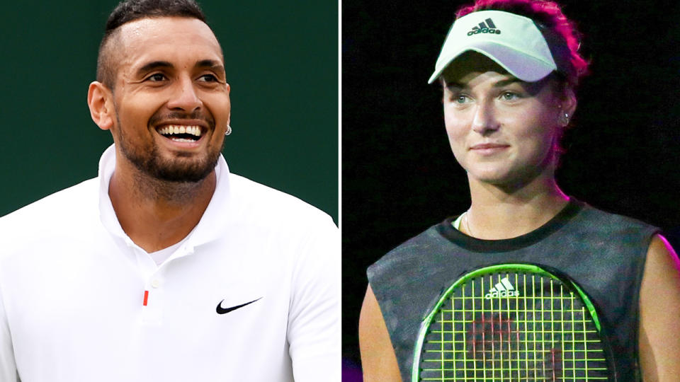 Nick Kyrgios and Anna Kalinskaya, pictured here on the tennis court.