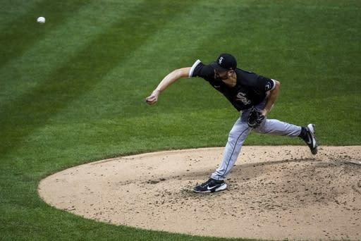 Chicago White Sox starting pitcher Lucas Giolito throws during the fourth inning of a baseball game against the Milwaukee Brewers Tuesday, Aug. 4, 2020, in Milwaukee. (AP Photo/Morry Gash)