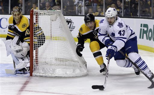 Toronto Maple Leafs center Nazem Kadri (43) turns the corner as Boston Bruins defenseman Johnny Boychuk (55) defends while goalie Tuukka Rask (40) guards the net during the first period in Game 2 of a first-round NHL hockey playoff series in Boston, Saturday, May 4, 2013. (AP Photo/Elise Amendola)