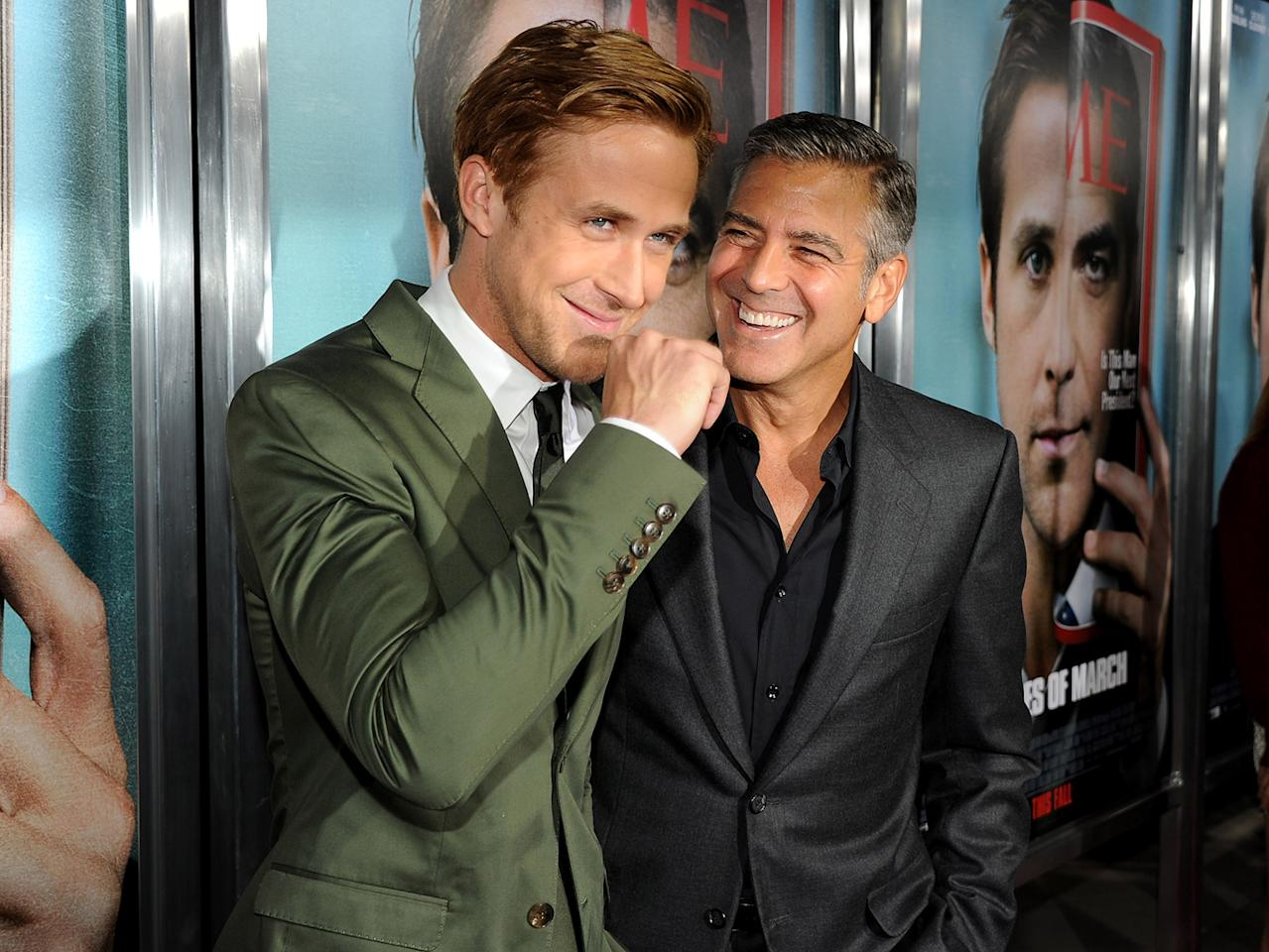 "<a href=""http://movies.yahoo.com/movie/contributor/1804035474"">Ryan Gosling</a> and <a href=""http://movies.yahoo.com/movie/contributor/1800019715"">George Clooney</a> at the Los Angeles premiere of <a href=""http://movies.yahoo.com/movie/1810155680/info"">The Ides of March</a> on September 27, 2011."