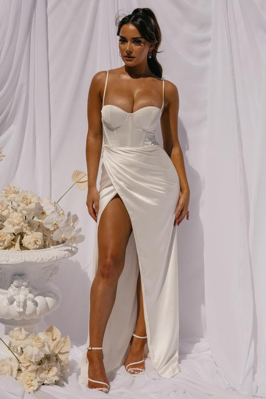 Meshki label DANIELLE wedding gown $199 caused cleavage controversy