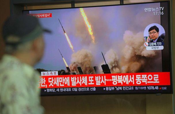 PHOTO: People watch a television news programme showing file footage of North Korea's projectile weapons, at a railway station in Seoul, May 9, 2019. (Jung Yeon-je/AFP/Getty Images, FILE)