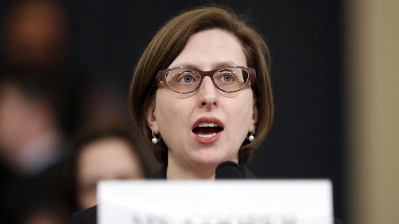 Deputy Assistant Secretary of Defense Laura Cooper testifies before the House Intelligence Committee on Capitol Hill in Washington, Wednesday, Nov. 20, 2019, during a public impeachment hearing of President Donald Trump's efforts to tie U.S. aid for Ukraine to investigations of his political opponents. (Photo: Andrew Harnik/AP)